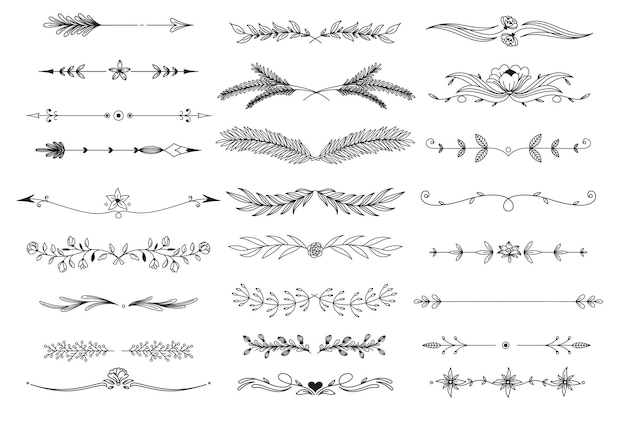 Lijnkunst bloemenverdelers, boho-pijlen, plantlijnranden, bloeit elementen. overzicht gebladerte natuurlijke bladeren kruiden pagina divider vectorillustratie.