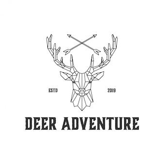 Lijnkunst hertenemblemen voor jagers en de wildernis
