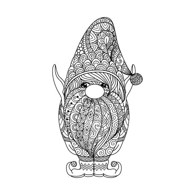 Lijnkunstontwerp van gesneden kabouter voor kleurboek, afdrukken op producten enzovoort. vector illustratie