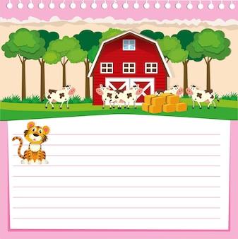 Lijnontwerp voor papier met schuur en koeien
