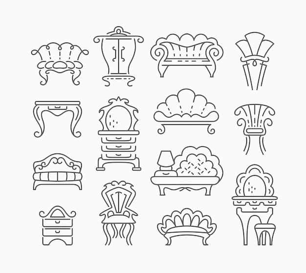 Lijnreeks grafische retro meubelartikelen, schetst geïsoleerde vintage meubelobjecten.