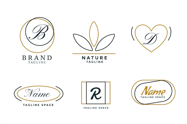 Lijnstijl elegante minimale logo's set van zes