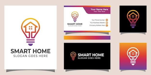 Lijnstijl smart home elektrisch logo-ontwerp met identiteitskaartontwerp