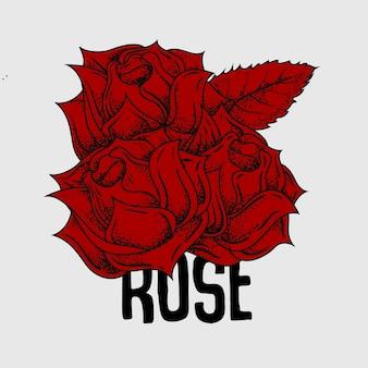 Lijntattoo rose bloem doodle punt inkt rood