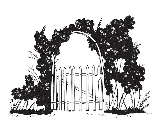Lijntekening van een houten tuinboogpoort met rozenstruiken