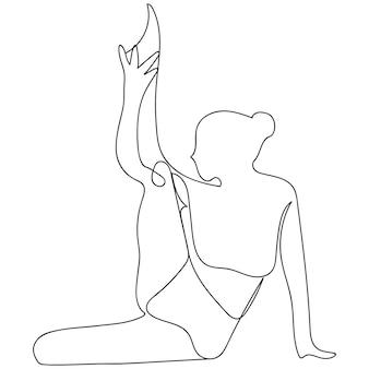 Lijntekening vrouwen fitness voor gezond ontwerp geïsoleerde vectorillustratie. moderne doodle pictogram. mensen levensstijl concept.