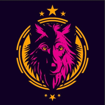 Lijntekening wolven shirt ontwerpsjabloon