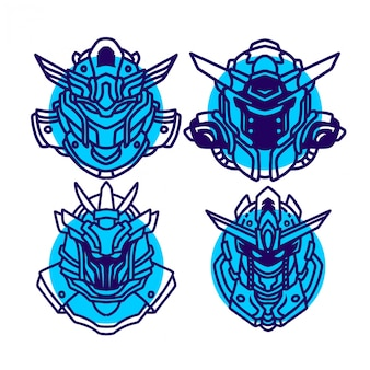Lijntekeningen blauwe gundam sjabloon instellen