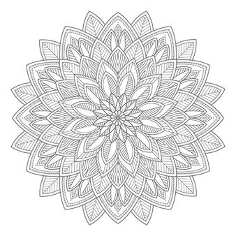Lijntekeningen bloemenmandala voor decoratief concept