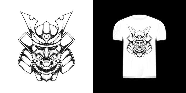 Lijntekeningen hoofd samurai illustratie voor t-shirtontwerp