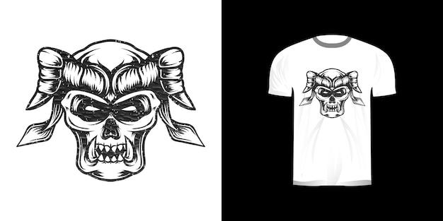 Lijntekeningen illustratie gehoornde schedel voor t-shirtontwerp