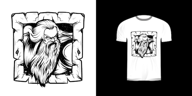 Lijntekeningen illustratie oude man voor t-shirtontwerp