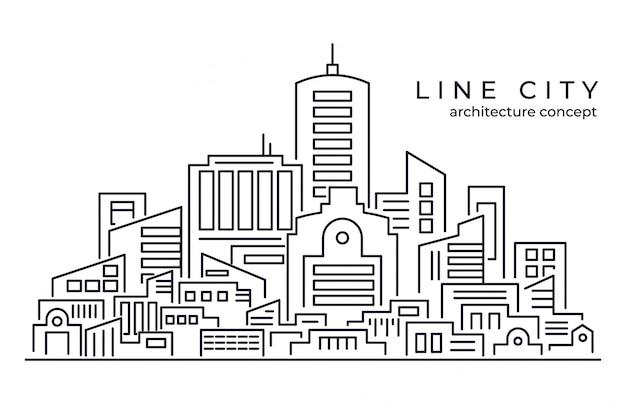 Lijntekeningen vectorillustratie van grote stad achtergrond