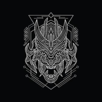 Lijnwerk angry demon mask met sacred geometry style