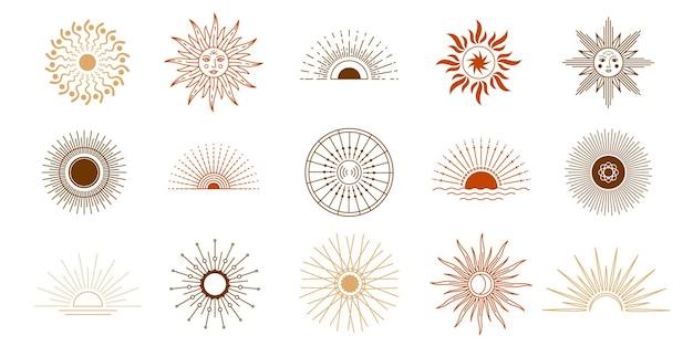 Lijnzonsondergang en zon schijnen met stralen, logo-elementen. yoga meditatie hemelse symbolen tatoeage. boho astrologie mystieke zon met gezicht vector set