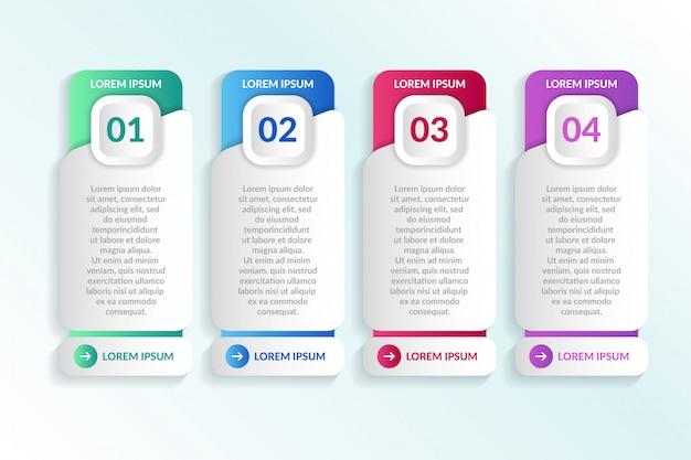Lijst infographic ontwerp met 4 lijsten info