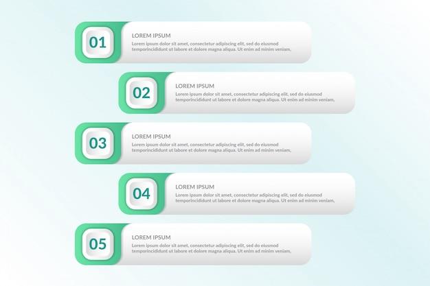 Lijst infographic ontwerp met 5 lijsten info