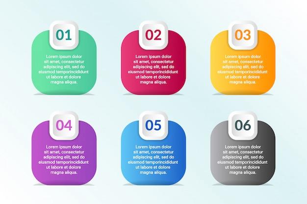Lijst infographic ontwerp met 6 lijsten info