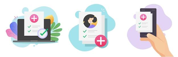 Lijst met medische online gezondheidsvoorschriftrapporten en papieren documenten vormen resultaten of digitale controle