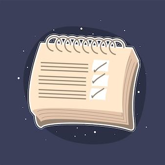 Lijst met notitieboekjes en vinkjes Premium Vector