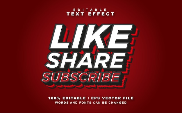 Like deel abonneren teksteffect gratis vector