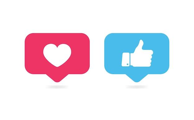 Like en hou van pictogrammen duimen omhoog en hart sociale media