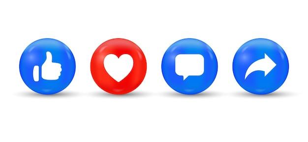 Like love comment share buttons in 3d moderne cirkel sociale media meldingspictogrammen