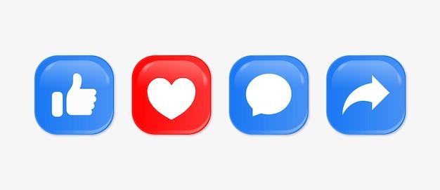 Like love comment share-knoppen in moderne 3d-vierkante sociale media meldingspictogrammen