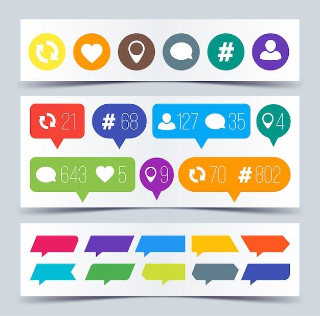 Like, volger, commentaar, repost, commentaarpictogrammen. vector illustratie.