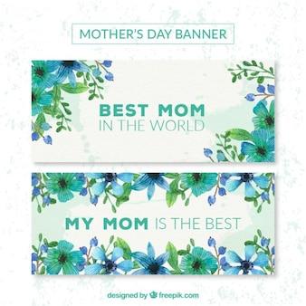 Lila bloemen moederdag banners