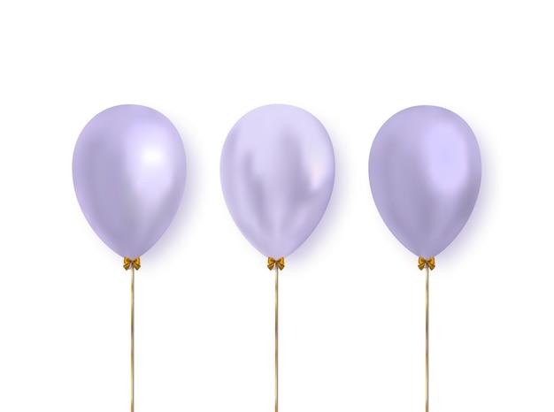 Lila kleur realistische glanzende ballonnen geïsoleerd