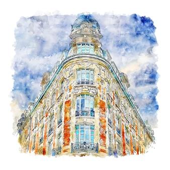 Lille frankrijk aquarel schets hand getrokken illustratie Premium Vector