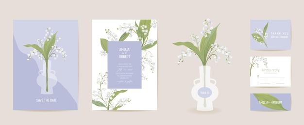 Lily bloemen aquarel trouwkaart. vector lente bloemen uitnodiging. rustieke bloemenbloesem. boho sjabloon frame. botanische save the date gebladerte cover, moderne design poster