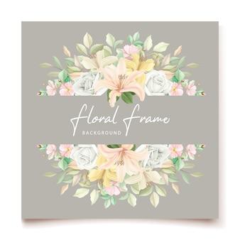 Lily bloemen bruiloft uitnodigingskaart