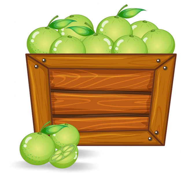 Limes op een houten bord