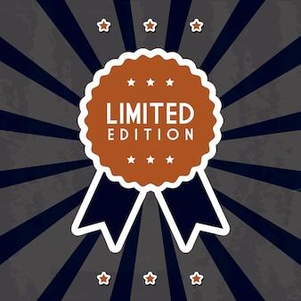 Limited edition-etiket over zwarte vectorillustratie als achtergrond