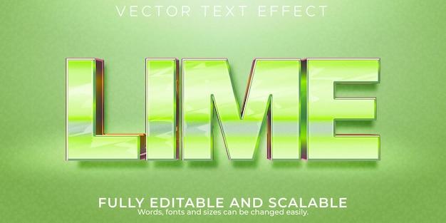 Limoen glanzend teksteffect, bewerkbare metalen en groene tekststijl