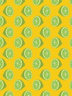 Limoen naadloos patroon op geel