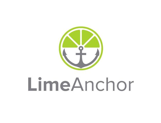 Limoencitroen met ankercirkel eenvoudig strak geometrisch creatief modern logo-ontwerp