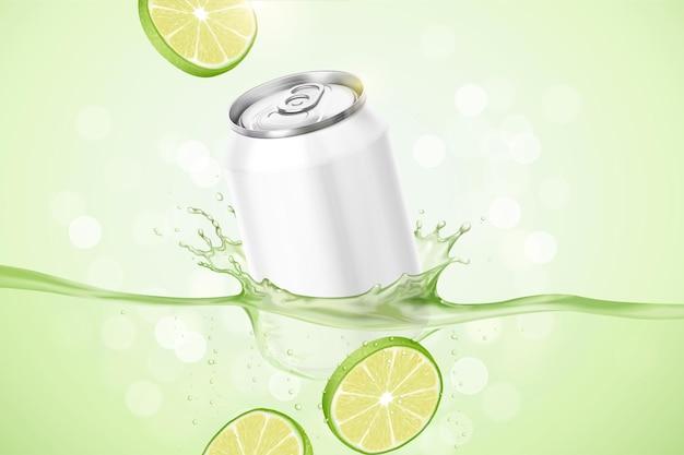 Limoensmaakdrankadvertenties met product onderdompelen in de vloeistof op groen bokehoppervlak, 3d illustratie