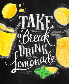 Limonade elementen glas, citroen, kruik, munt