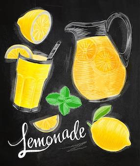 Limonade elementen krijttekeningen glas