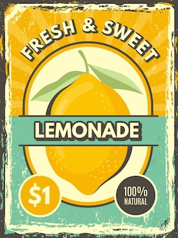 Limonade poster. vintage grunge label verse citroen illustraties restaurant of café marketing sjabloon.