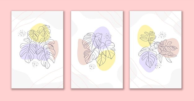 Line art bloem en bladeren posterontwerp b
