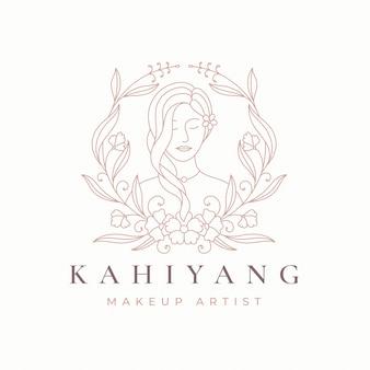 Line art bloemen vrouwen logo ontwerp