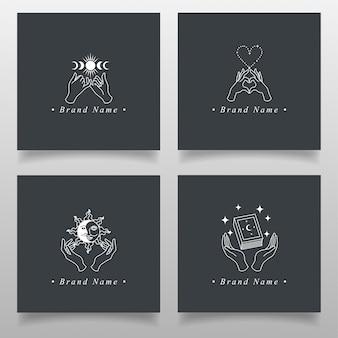 Line art hand magic logo bewerkbare template occult collectie