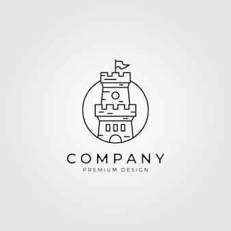 Line art kasteel logo minimalistisch