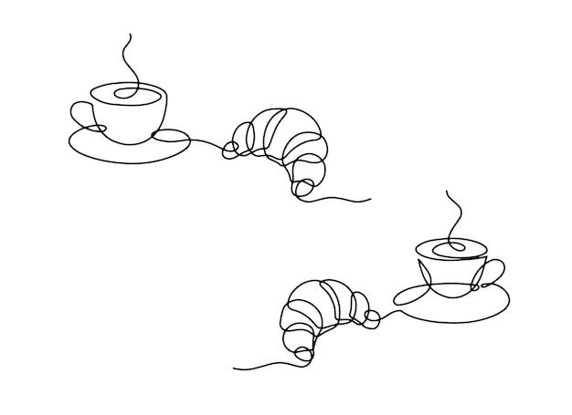 Line art kopje warme drank met croissant lineaire kopje koffie met stoom en gebak
