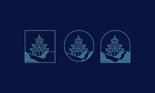 Line art pagode logo-ontwerp