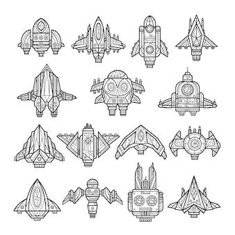 Line art ruimteschip-collectie